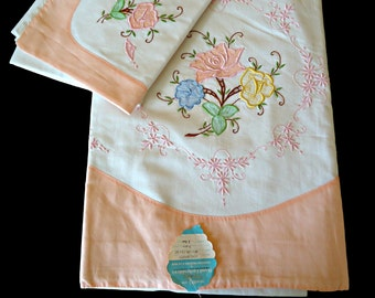 Vintage Applique Sheet and Pillowcase Set Hand Embroidered Queen Beautiful