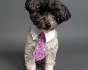 Purple Dog Tie with Hearts, Valentine's Dog Tie With or Without Shirt Collar