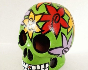 Handpainted Clay Skull, Bright Green with Bold Whimsical Flowers. Day of the Dead art.