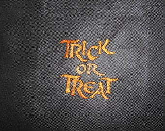 Halloween Trick Or Treat Bag Orange Treat Bag Black Treat Bag Embroidered Treat Bag