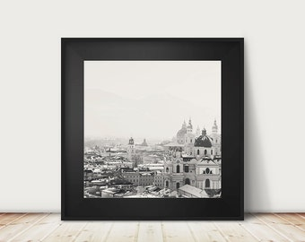 salzburg photograph black and white photograph cathedral photograph austria photograph snow photograph winter photograph travel photography