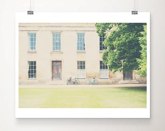 cambridge photograph blue bicycle photograph downing college print travel photography architecture photograph bicycle print