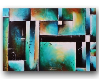 Abstract Painting, Contemporary Painting, Green & Blue Painting, Large Original Painting on Canvas, Geometric Painting, 24x36 Heather Day