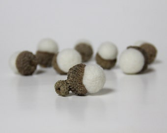 Needle Felted Wool Acorns Woodland Decor  - Set of 8 Natural White Wool Color