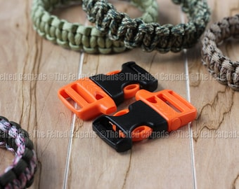 "2 ITW Nexus WhistleLoc 3/4"" Whistle Buckles - Orange or Gray for Paracord Bracelets Flat Webbing"