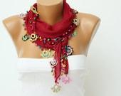 Turkish oya scarf ,  turkish yemeni ,hand crocheted lace border scarf ,bordeux