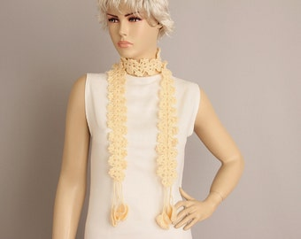CLEARANCE SALE -Crochet scarf ,crochet long scarf ,with  removable flower brooch