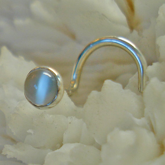 Cats eye moonstone nose jewelry nose stud nose for Cat s eye moonstone jewelry