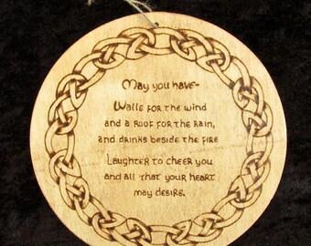 Wood burned Celtic blessing plaque