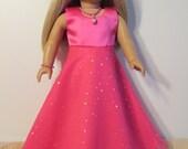American Girl Doll Hot Pink Long Flair Dress