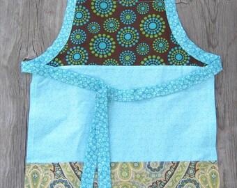 Girls Apron, Handmade, 3 Panel, Colorblock,  Little Girl, Child, Cook, Made in California, Birthday Gift, Christmas Gift, Hanukah Gift