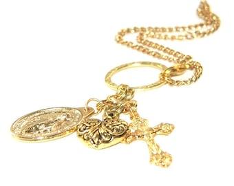 Saint On A Chain - Gold Miraculous Medal / Rear View Mirror Dangle / Catholic Bag Charm