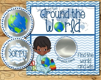 Around the world Scratch off cards Baby boy Shower Game Scratch tags Party Scratch off game Favor Invitations Scratch off 12 Precut printed