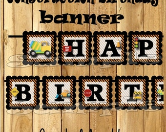 Construction Birthday Banner construction party Construction banner Dump truck decorations decor 1st birthday name banner dumptruck custom