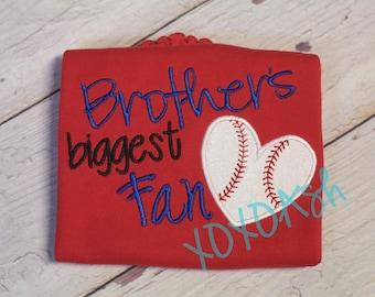 Baseball Brothers Biggest Fan--Girls Baseball Sister Shirt- Applique Baseball Shirt or bodysuit- Baseball Sister Shirt- Baby Girl bodysuit-