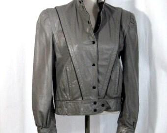 Vintage Gray Leather Jacket: 80s Leather Jacket, Retro Bomber Style, Gray and Black