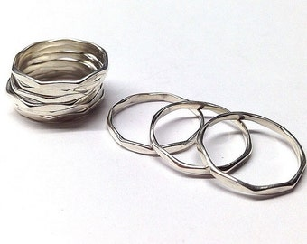 Hammered Stacking Rings Sterling Silver by Peace of Hawaii Ocean Trends Co.