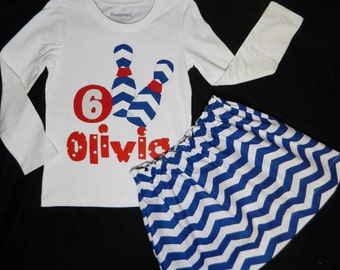 2 piece - girl, toddler, personalized name, initial or birthday number bowling SHIRT chevron pins, red ball applique, blue chevron SKIRT