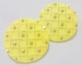 Vintage 1960's Yellow Molded Glass Earrings