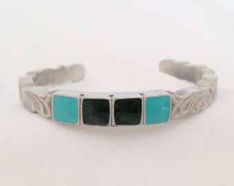 Vintage Signed SISK Enamel Pewter Cuff Bracelet