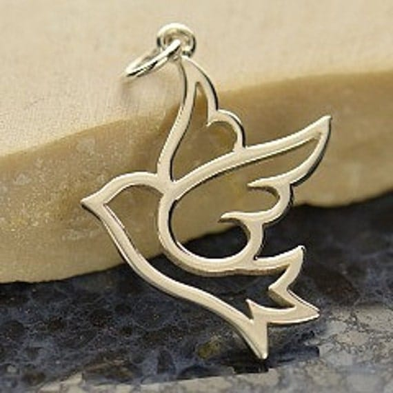 Sale -Dove - Sterling Silver Large Peace Dove Bird Charm - Love Bird Charm, Charms, Wings, Faith, Mom, Peace, Holiday, Love