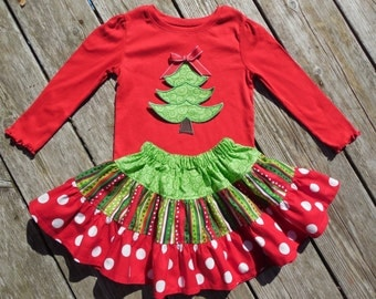Girl's Toddlers Christmas Skirt and Shirt Outfit -  Tiered Red and Green Skirt with Christmas Tree Applique Shirt