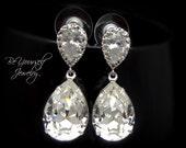 White Crystal Bridal Earrings Teardrop Bride Earrings Wedding Jewelry Swarovski Crystal Wedding Earrings Zirconia Sterling Bridesmaid Gift