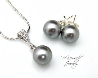 Gray Pearl Bridal Earrings Charcoal Bride Necklace Swarovski Grey Pearl Wedding Jewelry Sterling Silver Earrings Pearl Studs Bridesmaid Gift