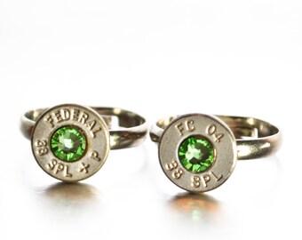 Simplistic Bullet Ring-  Nickel and Green