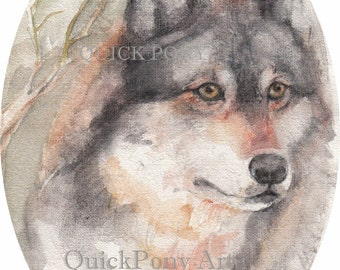Gray Wolf Totem Watercolor Painting