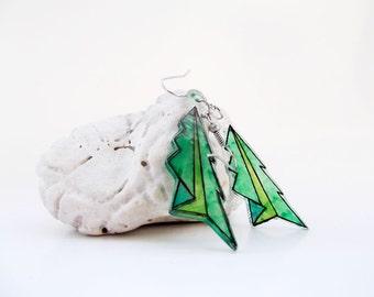 Geeky Christmas earrings, sale, origami tree, Christmas tree earrings, origami plane earrings, origami jewelry, geometric Christmas jewelry