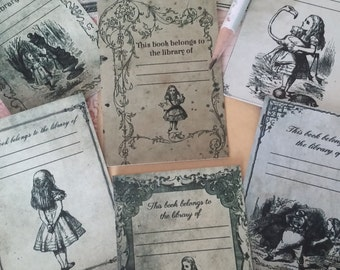 Alice in Wonderland, Alice bookplate, books, Alice in Wonderland Tag, Tea Party Favors, this book belong to