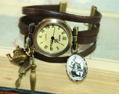 No time, no time! Leather Bracelet Watch Wristwatch brown bronzecolored - fairy tale rabbit special gift sister friend daughter jewelry