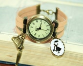 Miss Poppins Silhouette Leather Bracelet Watch Wristwatch nature bronzecolored - Fairy Tale special gift childhood nostalgia jewelry