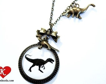 T-REX Silhouette Necklace bronzecolored - dinosaur necklace t rex funny jewelry