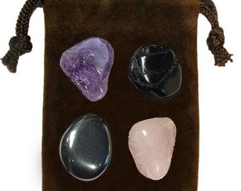 GRIEF - Meditation Stone Set Crystal Healing Gemstone Kit, Tumbled Gemstone Healing Set, 4 Stones, Pouch, Card