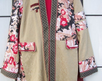 SALE Asian Jacket Coat & 1oz Gunpowder Green Tea Lg Fall Winter India Fashion Poppy Floral Eternity Knot Cotton Jacquard Pockets Tea Party
