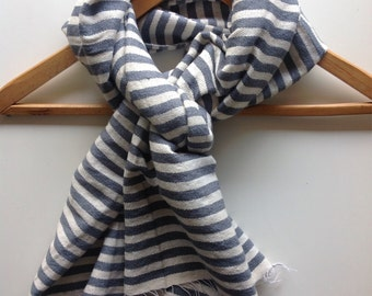 Scarf Light Gray Grey and White Cotton Wool striped Scarf- Men Women Gray & white Hand- Woven Ethiopian Scarf- holiday on ice scarf