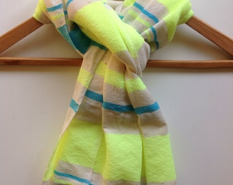 Scarf- Neon Powder  blue and white Nautical stripe -Cotton Wool scarves-Handwoven Ethiopian scarf for Men or Women. Wrap stole scarves
