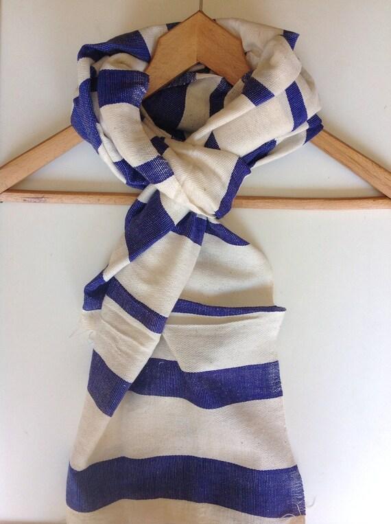 Cotton scarf Cobalt Blue & white multi striped Hand Woven Cotton Men Women Ethiopian Scarf- classic  Blue - spring Accessories-