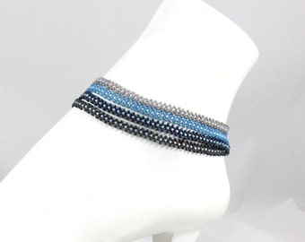 Multistrand Anklet - Blue Bead Ankle Bracelet - Seed Bead Jewelry - Foot Jewelry - Beach Anklet - Summer Jewelry - Boho Anklet
