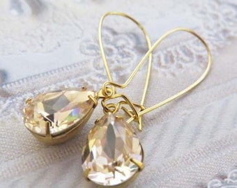Champagne Earrings Vintage Crystal Bridal Earrings Tear Drop Dangle Earrings Champagne Gold Bridal Earrings Vintage Bridal Jewelry