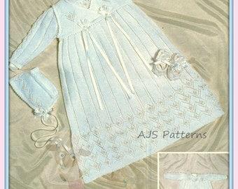 PDF Knitting Pattern for an Exquisite Christening Robe, Crossover Gilet, Bonnet & Slippers