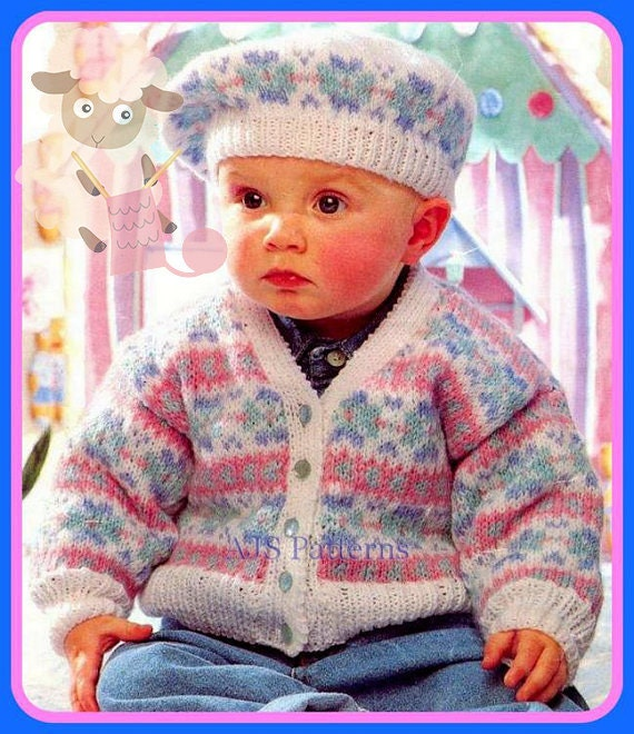 PDF Knitting Pattern for a Baby or Childs Fair Isle Cardigan