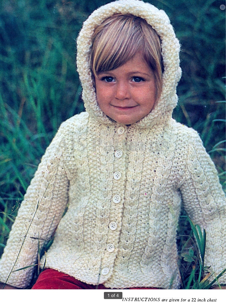 Aran Knitting Pattern With Hood : PDF Knitting Pattern For a Childs Aran Hooded Jacket Instant