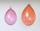 Hand Blown Glass Ornament Egg, Spring Decor, Christmas Glass Ball Suncatcher, Pale Transparent Apricot