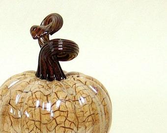 Hand Blown Glass Pumpkin / Art Glass Sculpture / Autumn Home Decor Fall Thanksgiving Decorations Winter White Dark Brown