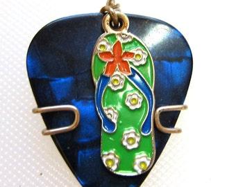 Green Flip Flop Charm on a Blue Guitar Pick - Guitar Pick Necklace