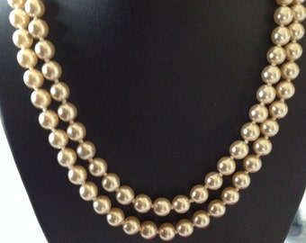 Long Versitile Classic Strand of Off White Pearls