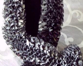 Scarf Black Silver Mermaid Tail Shimmer Reverse Boa